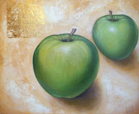 gold leaf painting - green apples