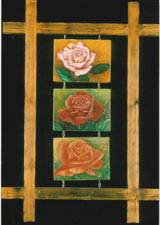 rose floral triptych